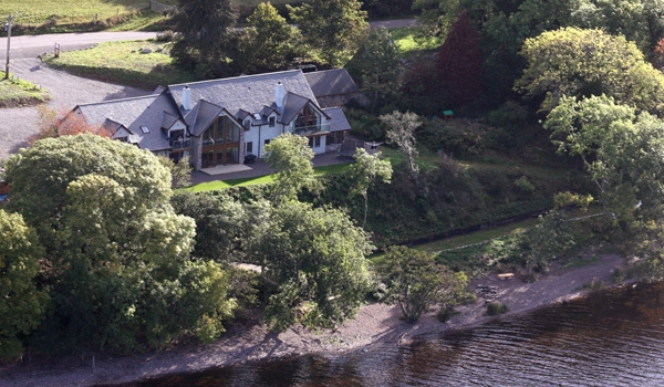 View of Balachladaich B&B from a helicopter on Loch Ness