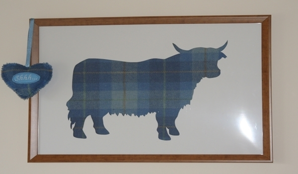 Blue Harris Tweed Highland Cow Picture